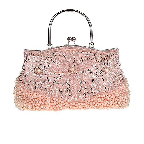 Homyl Perlen Pailletten Abendtasche - Rosa -
