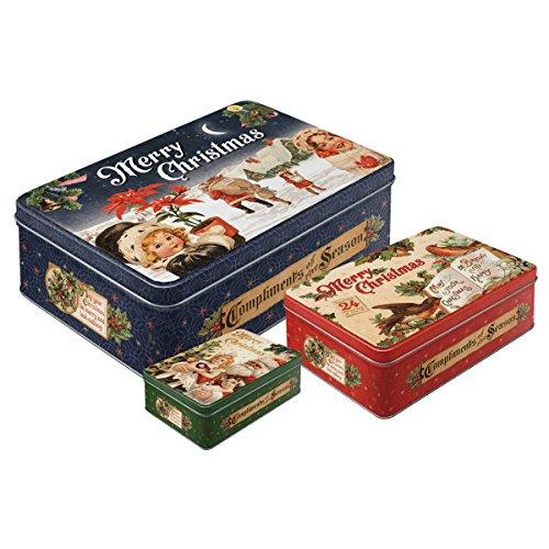 Nostalgic-Art 30999 Merry Christmas   3-Teiliges Weihnachts-Dosen Set   Aufbewahrungs-Boxen   Blech-Dosen   Plätzchen-Box   Metall