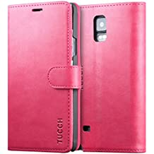 Funda Samsung Galaxy Note 4, TUCCH Funda Piel [Garantía de por vida], con Soporte Plegable, Ranuras para Tarjetas, Interior en Negro Estilo Libro, Cierre Magnético, Color Rosa Cálido y Plata