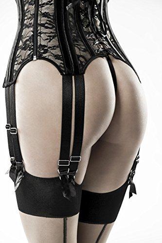 Schwarze Unterbrustcorsage in Lederoptik mit BH und Schnürung sowie Strapsbänder Spitze und Satin Straps-Corsagen Set XXL - 6