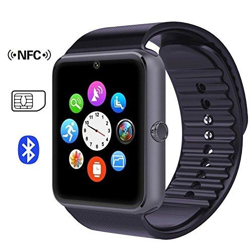 Time4Deals® GT08 Salud inteligentes NFC y Bluetooth Smart Watch pulsera con ranura para tarjeta SIM reloj Smartphone Android y IOS Apple Iphone - Negro