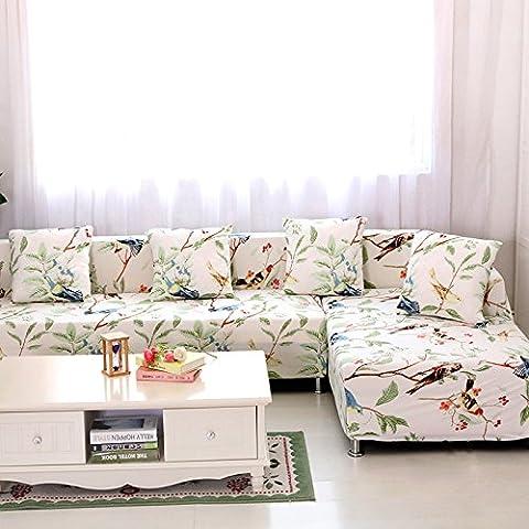 Haute élasticité Tissu Polyester Canapé Slipcover Canapé Housse de protection élégant meubles Shield/protecteur en fleurs, Happy, Tissu, 3 seater 190-230cm