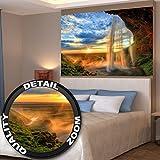 Poster Wasserfall Wandbild Dekoration Sonnenuntergang vor Horizont Natur Entspannung Landschaft Romantik Felsen Fluss Relax | Wandposter Fotoposter Wanddeko Wandgestaltung by GREAT ART (140 x 100 cm)