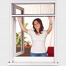 Insektenschutz Rollo für Fenster 125 x 150 cm ALU Rollo in Weiß Höhe und Breite individuell kürzbar Fliegengitter-Rollo aus Fiberglas in Anthrazit einfache Schraubmontage