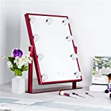 Mulfy Lighted Vanity Mirror with 9LED Bulbs LED Illuminated Cosmetic Mirror Makeup Dressing Table Vanity Set Mirrors with Dimmer (Burgundy 9LED)