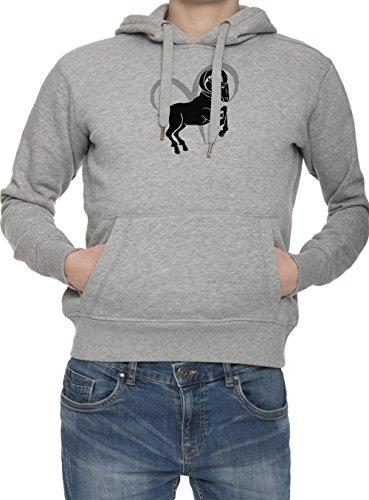Segno Di zodiaco Di Ariete Uomo Grigio Felpa Con Cappuccio Saltatore   Men's Grey Hoodie Jumper