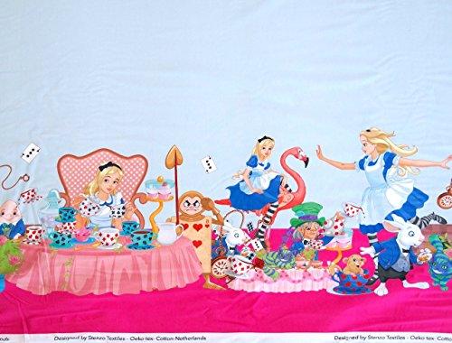 Alice im Wunderland Jersey Stoff–doppelte Bordüre Stoff–sten15–von 60cm x 150cm–Stretch Jersey Knit Stoff