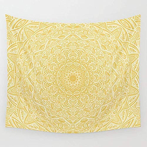 BAOQIN Tapisserie Most Detailed Mandala Yellow Golden Color Intricate Detail Ethnic Mandalas Zentangle Maze Pattern Wall Tapestry Hanging Tapestries Wall Art for Living Room Bedroom Dorm Decor 80
