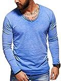 behype. Herren Langarm Basic Longsleeve V-Neck T-Shirt 30-3741