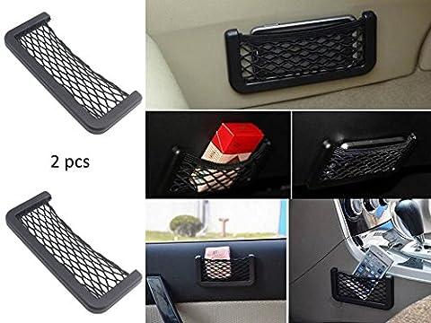 KFZ Netz-Universalthalterung Auto Netzbeutel 2 Stück Telefon Halter Lagerung Aufbewahrung Organizer Handy Gadget Smartphone Ablage