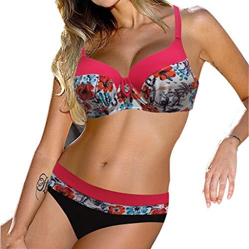 hmtitt Damen Bikini Set, Sommer Sexy Ladiess Gepolsterte Push-Up BH Blumendruck Patchwork Badeanzug Badeanzug Badeanzug Bademode Beachwear (Dress-websites Fancy Günstige)