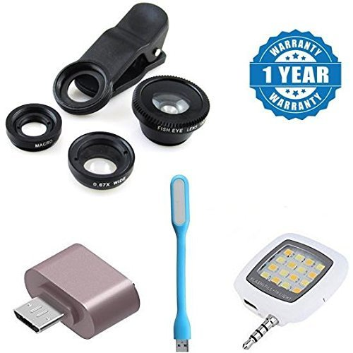captcha Graphics Combo of Universal Mobile Camera Lens Kit, Cute little OTG Adapter, USB LED Light and Selfie LED Flash Light (Color May Vary)