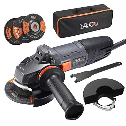 Amoladora Angular 1020W, TACKLIFE Herramienta de 125 mm y 12000 RPM con Mango Anti-vibraciones, 3 Ruedas para Esmerilar/Pulir/Cortar, 2 Cubiertas Protectoras de Ruedas, 1 Bolsa Portátil, P9AG125