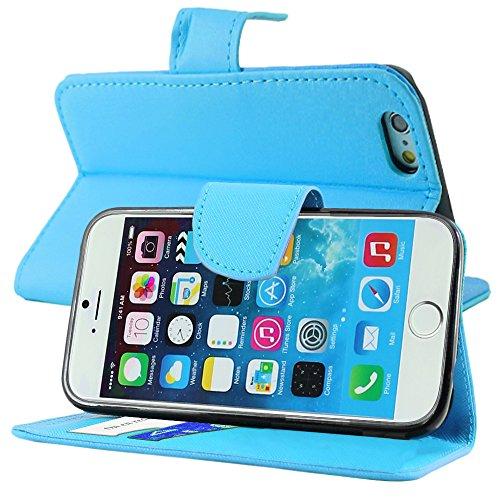 """ebestStar - pour Apple iPhone 6S 6 écran 4.7"""" - Housse Coque Etui Portefeuille Support PU Cuir + Mini Stylet tactile, Couleur Noir [Dimensions PRECISES de votre appareil : 138.1 x 67 x 6.9 mm, écran 4 Bleu"""