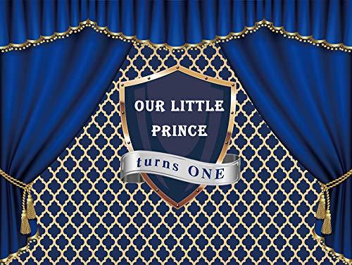 NIVIUS Fotohintergrund für Baby-Party, Motiv: Royal Little Prince, für Fotografie, Vinyl, schwarzer Junge, Blau, Hintergrund für Party-Dekorationen, 220 x 150 cm, W-1014 (Blau Tischdekoration Royal)