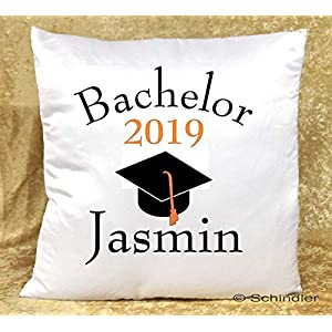 Kissen bedruckt – Dekokissen – Studentengeschenke – Motiv 1″Bachelor 2019″ mit Wunschnamen