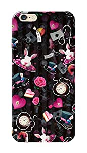 Apple Iphone 6S Black Hard Printed Case Cover by Hachi - Roses and Bunnies Design