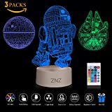 3D LED Star Wars Luz de noche, Lámpara de ilusión Death Star + R2-D2 + Millennium Falcon, Tres patrones y 16 colores Lámpara de decoración Cambio - Regalos perfectos para niños y fanáticos de Star Wars - 3 paquetes