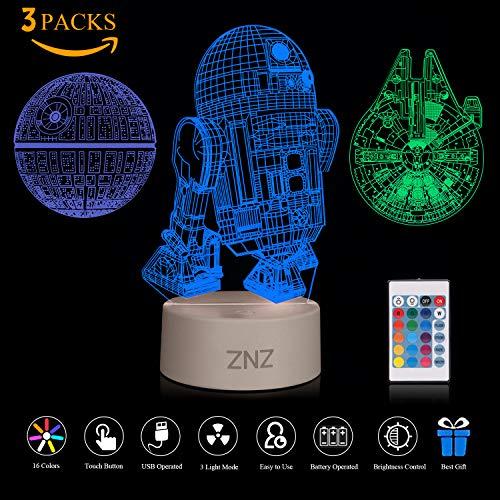 (3D LED Star Wars Nachtlicht, ZNZ Illusion Lampe Todesstern + R2-D2 + Millennium Falcon, drei Muster und 16 Farbwechsel Dekor Lampe - perfekte Geschenke für Kinder und Star Wars Fans - 3 Packs)