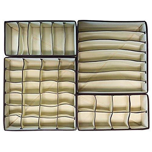 LAAT Faltbare Unterwäsche Aufbewahrungsbox Multifunktionale Kleidung Schrank Organizer Schubladenteiler für Unterwäsche BHS Socken Krawatten Schals Beige Set von 4 (1)