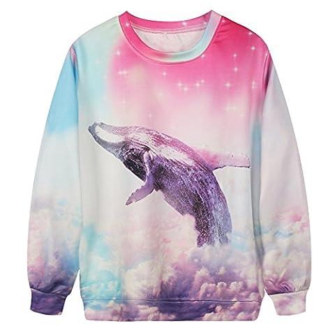 YICHUN Women Leisure T-Shirt Thin Sweatshirts Tops Print Pullovers Sweater