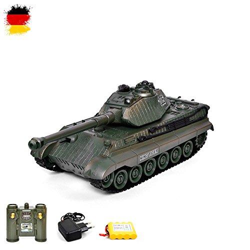 RC ferngesteuerter German Königstiger Panzer Tank Militär-Fahrzeug Modell Tiger II, Gefechtmodi, Schusssimulation, Sound und Beleuchtung