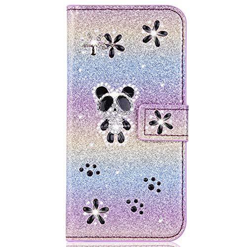 Miagon für Samsung Galaxy A7 2018 Glitzer Brieftasche Hülle,3D Diamant PU Leder Case Kartenslots Ständer Strass Wallet Flip Cover,Panda Regenbogen 2