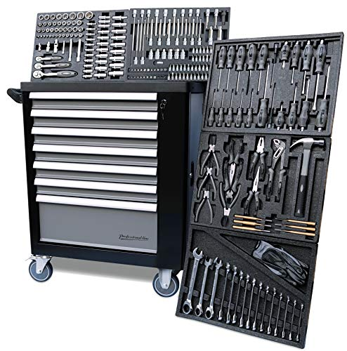 XXL Werkstattwagen Werkzeugwagen schwarz - 5 von 7 Schubladen gefüllt mit Werkzeug - rollbar