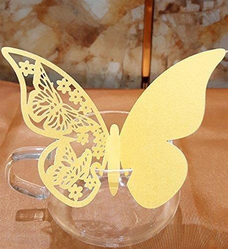 erling Ort Name Karten Party Hochzeit Hochwertiger Tisch Name Ort Weinglas Karten Glas Tasse Anhänger Wandtattoo Lesezeichen für Hochzeit Party Dekoration 11 cm X 7 cm Gold ()