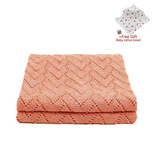 Odot coperta bimbo in maglia per bambino, hollow, soffice dormire di coperta unisex neonato morbida coperta swaddle perfetta per culla, carrozzina, lettino (100 * 80cm,arancione)
