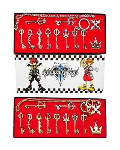 Kingdom Hearts II 12 Stk. Kostüm Requisit Schlüsselschwert Anhänger Schlüsselanhänger Halskette Kette Golden