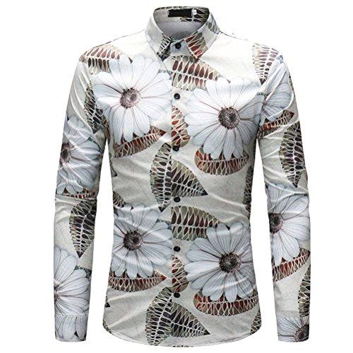 Zhuhaijq festa fancy dress camicie taglie forti per adolescenti,manica lunga slim fit uomo locale notturno casual tops,3d floreali hawaiano