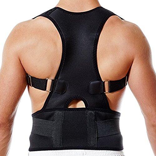 SUAVER Neopren Geradehalter verstellbar Rücken Schulter Rückenbandage Rückenhalter Haltungskorrektur Schulterträger Wirbelsäule für Damen und Herren (Schwarz, L)
