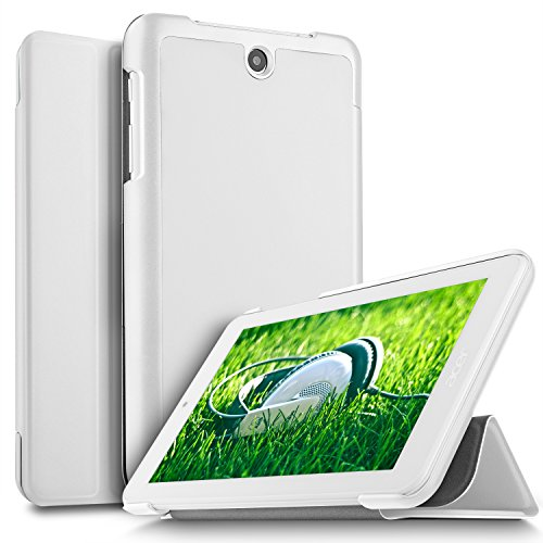 IVSO Acer ICONIA ONE 7 B1-7A0 Hülle, Ultra Schlank Ständer Slim Leder zubehör Schutzhülle perfekt geeignet für Acer ICONIA ONE 7 B1-7A0-K17V Tablet PC, Weiß