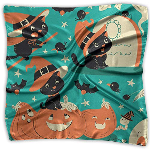 ween Kitty Hexe Square Scarf Women's Square Headscarf Square Neck Head Scarf Scarves Ladies Hair Scarves 39