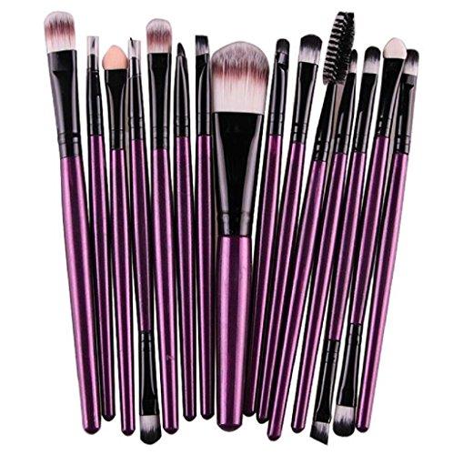 Sannysis 15pcs Brocha; Pincel de labios de cejas; Herramienta de pinceles de maquillaje (Púrpura)