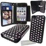 """Stylebitz / Etui portefeuille avec rabat magnétique détachable pour Apple iPhone 4S / 4, motif """"polka"""", livré avec chiffon de nettoyage (rose & noir)"""