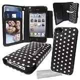 Stylebitz / Etui portefeuille avec rabat magnétique détachable pour Apple iPhone 4S / 4, motif 'polka', livré avec chiffon de nettoyage (rose & noir)