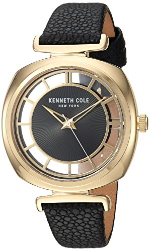 Kenneth Cole New York Women's 'Transparency' Quartz Brass-Plated-Stainless-Steel and Leather Dress Watch, Color:Black (Model: KC15108004)