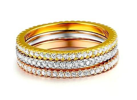 Daesar Damen-Ring 3 Ring (Gold Silber Rosegold) Vergoldet Edelstahl mit Weiß Kristall Strass Zirkonia Ring Für Frauen Größe 62 (19.7)