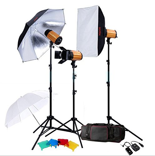 Gowe Digital 900W Photo Studio Flash-Beleuchtung Set 3x 300W Fotografie Strobe Light & Softbox Light Stand Portrait Kit Studio 3 Portraits