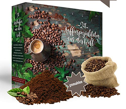 Adventskalender Kaffee gemahlen 2019 I Kaffee Adventskalender mit 24 erlesenen Kaffee Sorten aus aller Welt als Probierset