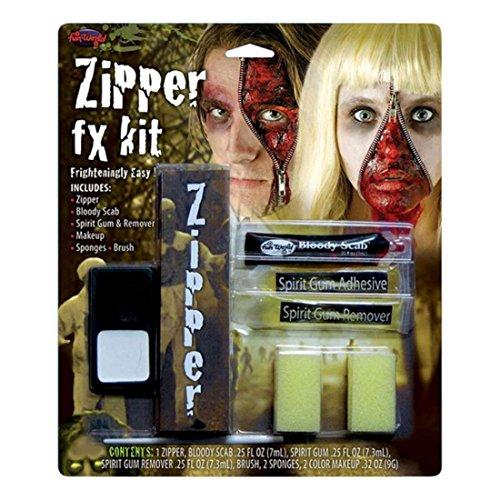 Reißverschluss FX Make-Up Satz Unisex Kostüm Halloween Accessoires Horror ()
