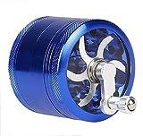 Hosaire Grinder Molinillo Manual con Manivela de Aluminio Irrompible para Hierbas y Especias Atrapa Polen 4 partes 55mm 2.2 pulgadas Color Azul