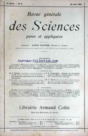REVUE GENERALE DES SCIENCES [No 8] du 30/04/1903 - P. DUHEM - LES BRANCHES ABERRANTES DE LA THERMODYNAMIQUE - A. LOIR - F. WEISGERBER - VOYAGE DE RECONNAISSANCE AU MAROC - A. ETARD - CHIMIE PURE.