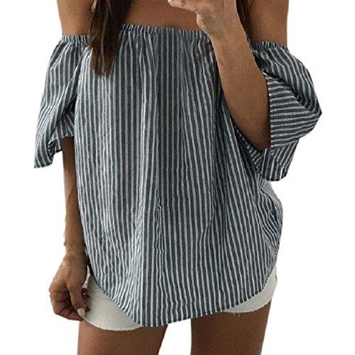 Culater® Mujeres Hombro a rayas ocasionales camisa de la blusa Tops (L, Gris)