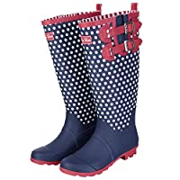 Ruby Shoo Ladies Layla Navy White Polka DOT Spots Wellies Boots 09204-UK 8 (EU 41)