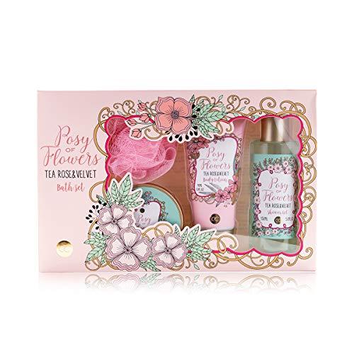 Accentra Badeset Geschenkset für Frauen & Mädchen im dekorativen Vintage Geschenkkarton & zartem Tea Rose & Velvet Duft, 4-teiliges Pflegeset zur Haut- & Körperpflege -