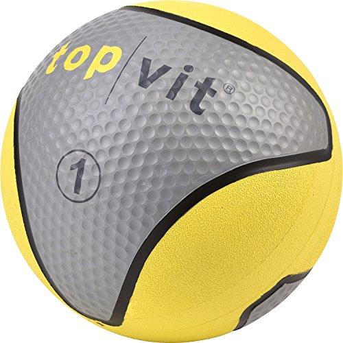 """top vit® Medizinball """"medizin.ball"""", Fitnessball, Gewichtsball für Fitness, Prävention, Pilates, Yoga, Physiotherapie, Rehabilitation, Verein und Schule, 1kg, neongelb"""