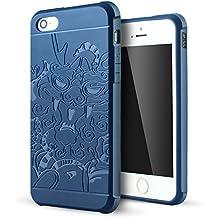 iPhone 5 Funda,iPhone 5s Funda,iPhone Se Funda,Lizimandu Protectiva Carcasa de Silicona de gel TPU Transparente, Ultra delgada, Resistente a los arañazos en su parte trasera, Amortigua los golpes Case Cover Para apple iphone 5/5s/se(Dragón Azul/Dragon Blue)